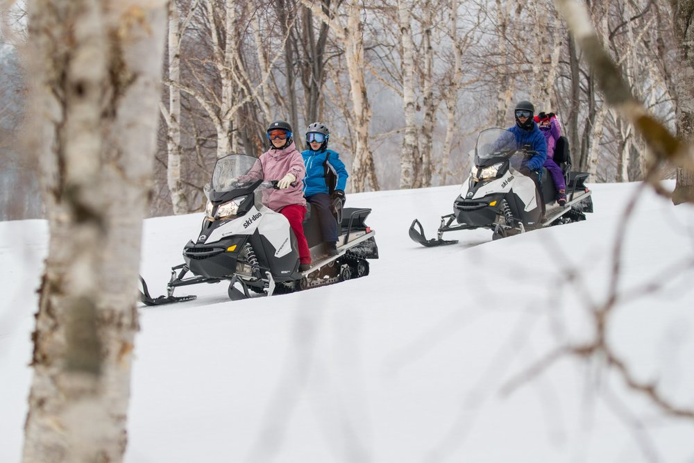 family snowmobile at hanazono