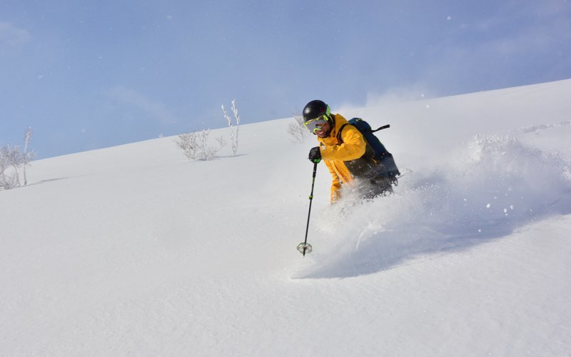 ニセコHANAZONOのパウダースノーを楽しむスキーヤー