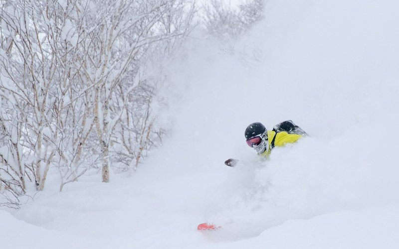 hanazono powder guides snowboarder makes a deep turn