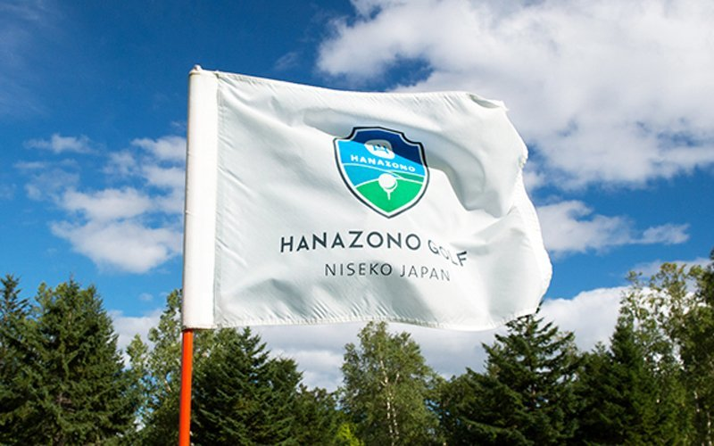 hanazono golf flag on a sunny summer day