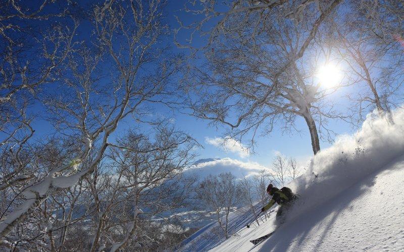 hanazono powder guides deep powder on a sunny day