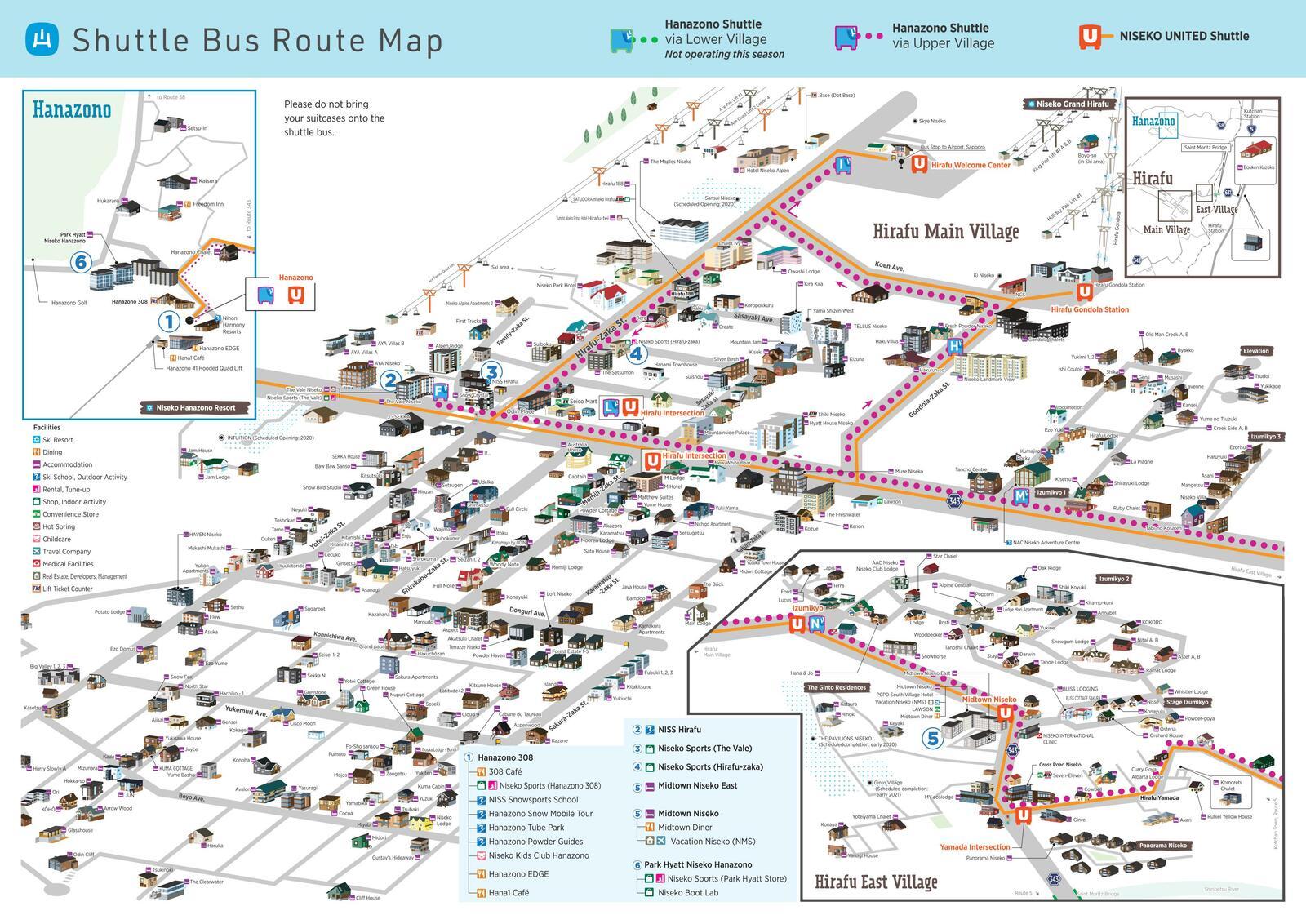 ニセコ花園フリーシャトルバスのルートマップ