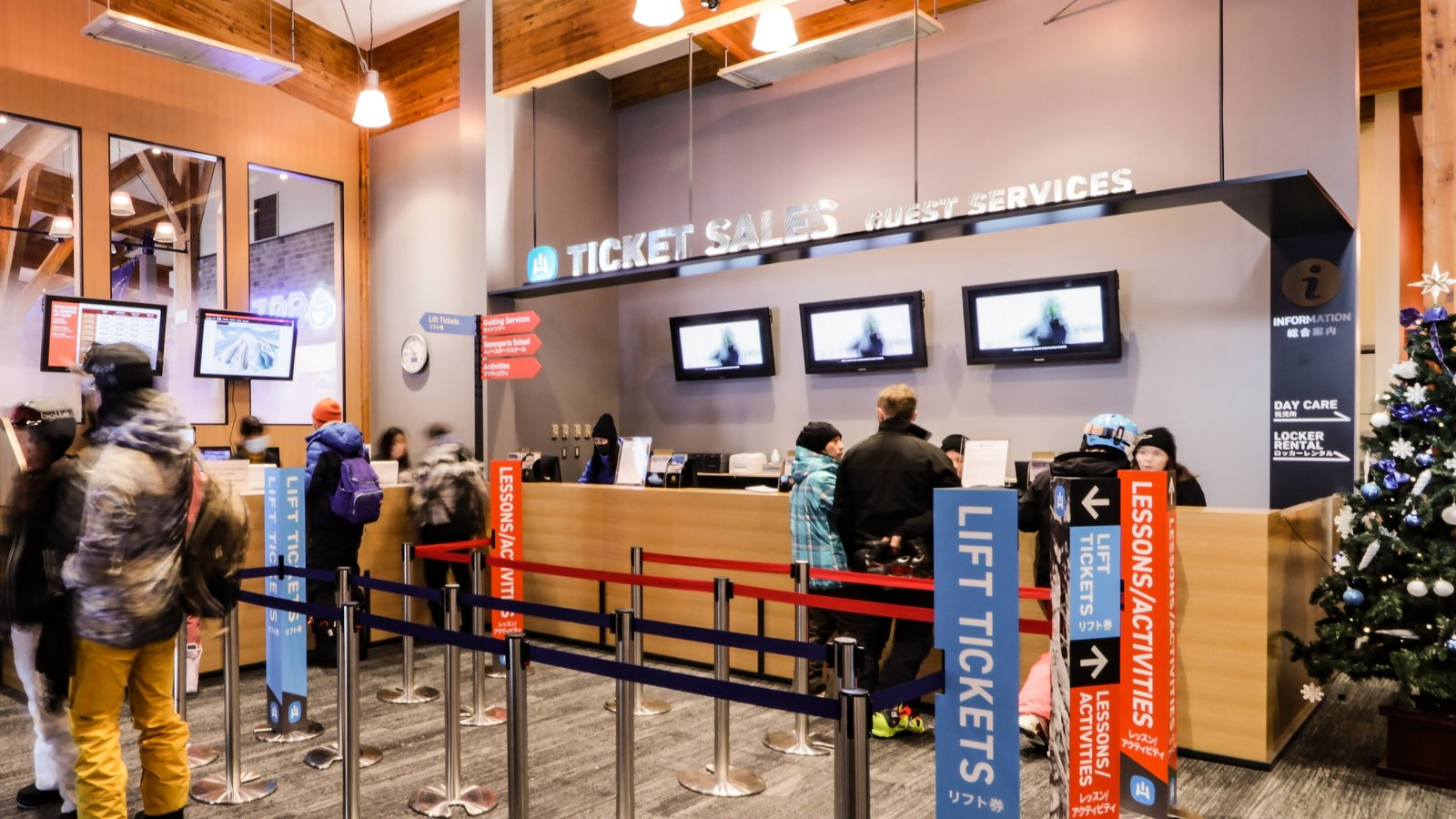 people purchase at hanazono ticket sales guest service counter